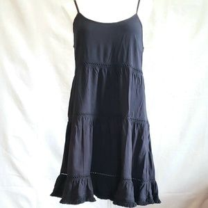 BOHO Mossimo Tiered Black Dress Raw Hem M